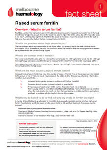 Raised Serum Ferritin- Fact Sheet