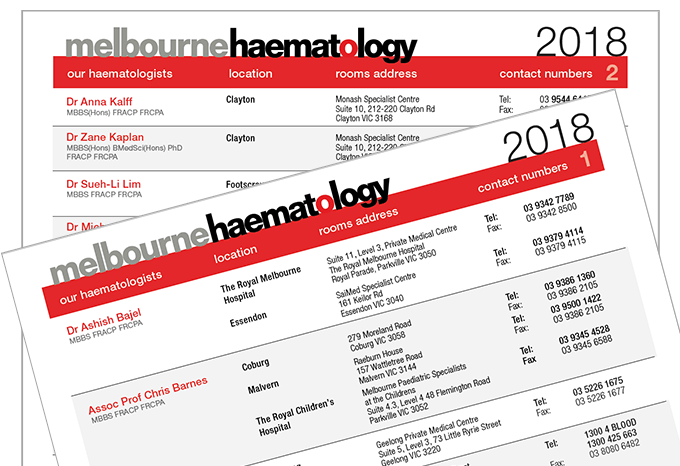 Melbourne Haematology Clinical - 2018 Location & Contact Details for all our Haematologists